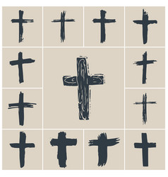 Grunge hand drawn cross symbols set christian vector