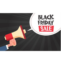 hand hold megaphone with black friday sale message vector image vector image