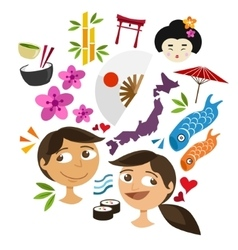 japan culture icon set vector image vector image