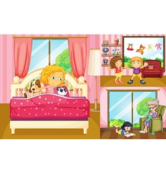 Kids doing different activities at home vector image