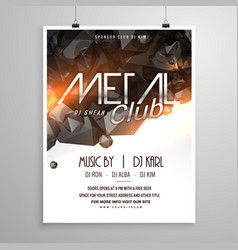 metal club music party flyer poster vector image