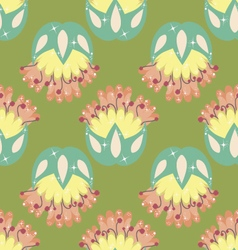 Multicolored seamless pattern with floral elements vector image