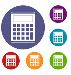 Office school electronic calculator icons set vector