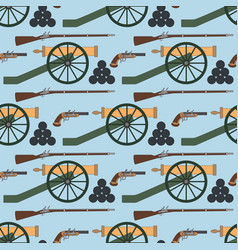 seamless pattern with cannons rifles and pistols vector image vector image