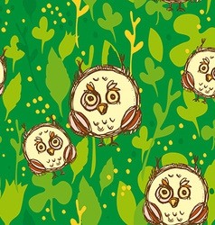 Seamless pattern with funny big-eyed owl on a vector image