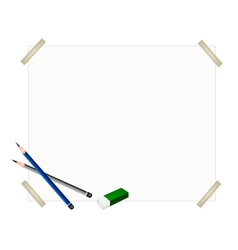 Sharpened Pencils and Eraser on Blank Paper vector image
