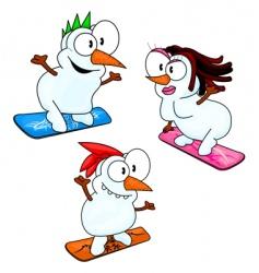 snowboarding snowmen vector image vector image