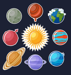 solar system or planets sticker set vector image