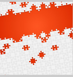 Some white puzzles pieces orange - jigsaw vector