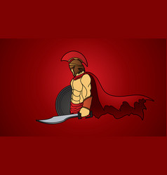 spartan warrior with sword and shield roman army vector image vector image