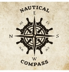 Steering wheel and compass symbol logo vector