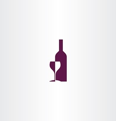 wine glass and bottle logo icon design vector image