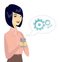 Young asian business woman holding a mobile phone vector