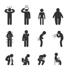 Symptoms of people disease icons sick and ill vector