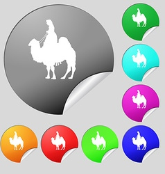 Camel icon sign set of eight multi colored round vector