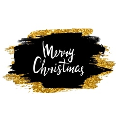 Merry christmas sign hand drawn lettering golden vector