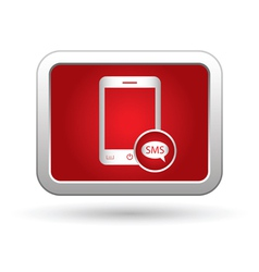 Phone icon with sms menu vector image