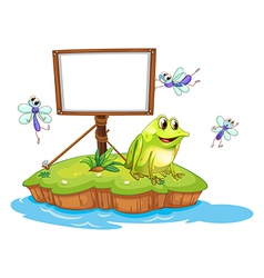 A frog and flies in an island vector