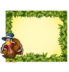 A leafy frame with a turkey vector