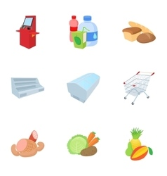 Selling products in store icons set cartoon style vector