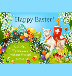 Happy easter day cartoon greeting poster design vector
