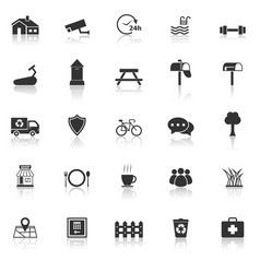 Village icons with reflect on white background vector