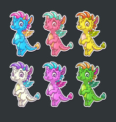 funny colorful dragon stickers set vector image