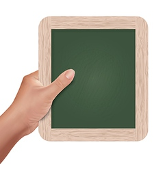 Hand holding a slate board vector