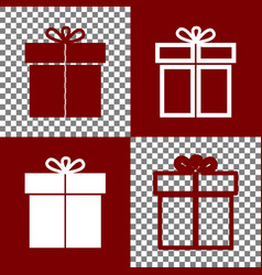Gift sign  bordo and white icons and line vector