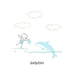dolphin and man vector image