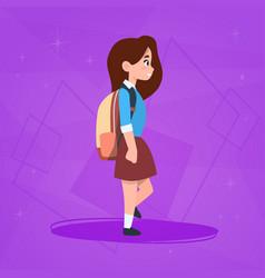 Girl pupil walking to school schoolgirl small vector
