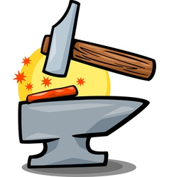 Hammer and anvil clip art cartoon vector