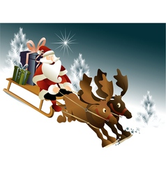 Magic santa claus sleigh vector