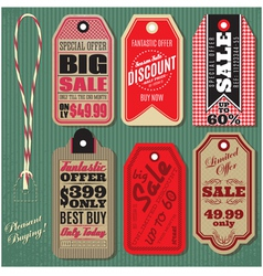 Set of vintage style sale tags design vector