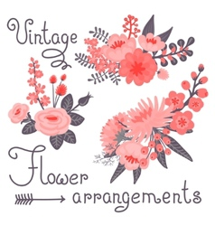 Vintage flowers cute flower for design vector
