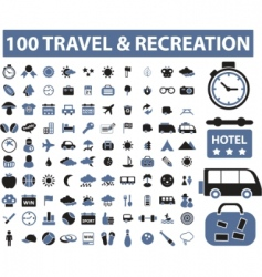 100 travel  recreation signs vector