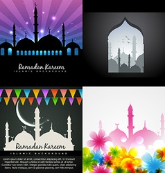 Collection of attractive design of ramadan kareem vector
