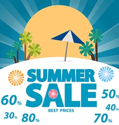 Summer sale background with text vector image
