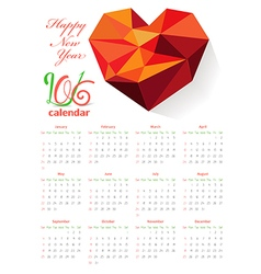 Calendar 2016 with geometrical heart vector