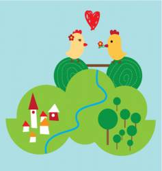 happy chickens vector image