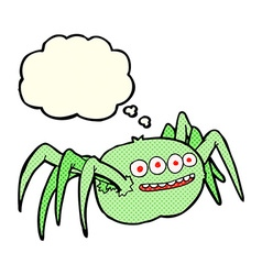 Cartoon spooky spider with thought bubble vector