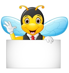 Cartoon bee hold blank sign vector