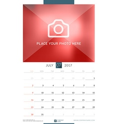 Wall monthly calendar for 2017 year july design vector