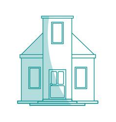 blue shading silhouette cartoon facade modern vector image