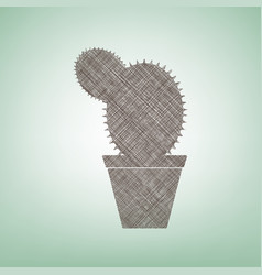 Cactus sign brown flax icon vector