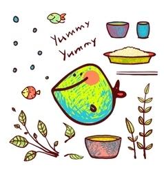 Cartoon Funny Fish Seafood Ingredients Card Design vector image