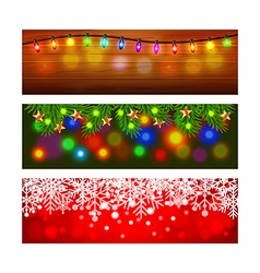 Christmas banners with lights and snowflakes vector