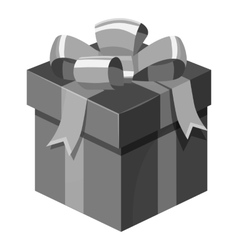 Christmas box with bow icon gray monochrome style vector