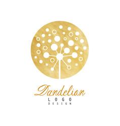 Circle logo design of dandelion abstract vector
