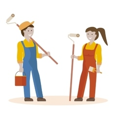 Couple of house painters vector